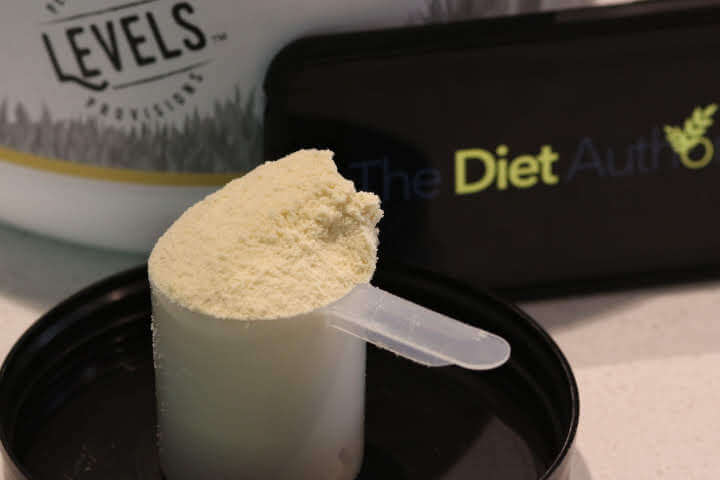 A scoop of Levels Whey Protein, this is the Vanilla Bean flavor