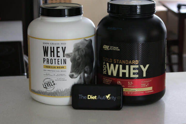 Levels Grass-Fed Whey Protein on Left and Optimum Nutrition Gold Standard Whey on the right.