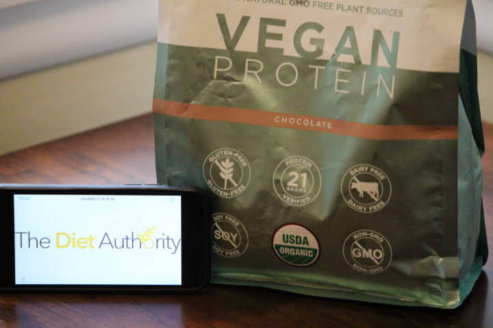 BN Labs Organic Vegan Protein Powder with The Diet Authority Logo displayed on iPhone